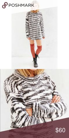 Ecote Mock Neck Printed Sweater Must-have sweater from boho-chic brand Ecote, only available at UO.  * Long + loose wool-blended knit  * Complete with a rolled-edge turtleneck  * Ribbed-banded cuffs and hemline.  * No trades, please 11151600sw Urban Outfitters Sweaters