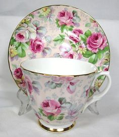 Pretty Staffordshire Pink Roses Pattern Chintz Teacup Saucer