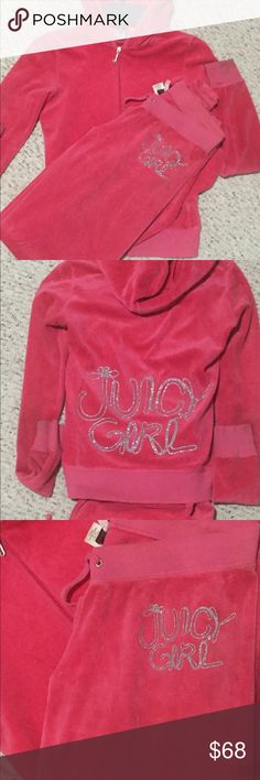 "Hot Pink Juicy Couture Jogger Set Super Soft & Comfy Hot Pink Juicy Couture "" Juicy Girl"" Jogger Set. In Good Used Condition Overall, Does Have a Few Stains & Dark Spots, Still Looks Good On. More Pics Upon Request Juicy Couture Other"