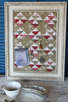 Framed Miniature Quilt - Use it as a message board or to hang earrings [Blackbird Designs]