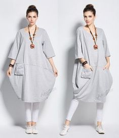 Anysize lantern style cotton dress with deep heel pocket winter spring long dress plus size dress plus size clothing plus size resort outfit Linen Dresses, Cotton Dresses, Plus Size Dresses, Plus Size Outfits, Hijab Fashion, Fashion Dresses, Plus Size Kleidung, Mode Hijab, Dress Sewing Patterns