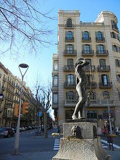 Statue and drinking fountain on Avinguda Diagonal in Barcelona