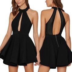 Black Entrapment Halter Cut Out Back Skater Dress,Fashion Homecoming Dress - - Source by Cute Dresses, Short Dresses, Summer Dresses, Formal Dresses, Dress Outfits, Fashion Dresses, Cute Outfits, Dress Clothes, Fashion Clothes