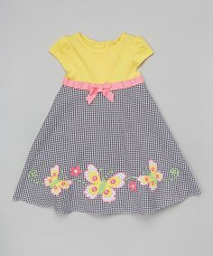 Another great find on #zulily! Yellow Gingham Butterfly Dress - Infant, Toddler & Girls by Good Lad #zulilyfinds