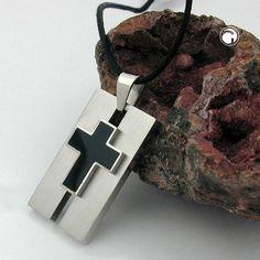 Collier, Edelstahl, Kreuz schwarz  Schmuck aus Edelstahl, Kreuz schwarz emailiert, 1mm Kordel schwarz, Länge variabel verstellbar von 50cm bis 90cm, Kreuz schwarz emailliert