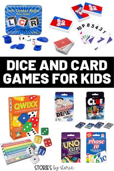 Are you looking for some dice and card games your kids will love? I'm sharing some of our family favorites. All of these games are fun for the whole family! Play Math Games, Fun Games, Dice Games, Learning Games, Hands On Activities, Math Activities, Math Resources, Fun Christmas Party Ideas, Card Games For Kids