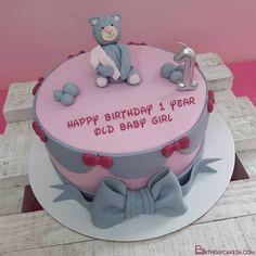 Teddy Bears 1st Birthday Cake With Name Edit Birthday Cake Maker, Teddy Bear Birthday Cake, First Birthday Cakes, Happy Birthday, Cake Templates, Cake Name, Cake Makers, Birthday Cake Decorating, Teddy Bears
