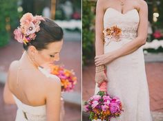 Pink and Orange Wedding Bouquet and Hairpiece
