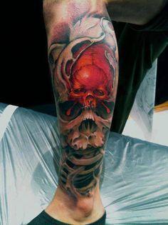 Left Leg 3D Biomechanical Skull Tattoo