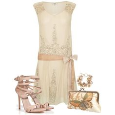 Great gatsby / Short Flapper Style dress - from Hoss Intropia and other apparel, accessories and trends. Browse and shop 21 related looks. Style Année 20, Looks Style, Mode Style, 1920 Style, Vintage Style, Vestidos Vintage, Vintage Dresses, Vintage Outfits, Vintage Fashion