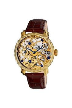 Akribos XXIV Mechanical Skeleton Strap Watch. I love the fully exposed gears and works.