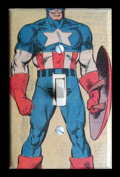 Superhero Light Switch Plate - Captain America - LOL, really!  My boys would love this, but it won't fit their light switch :(