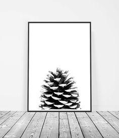 Scandinave affiche Print, scandinave, Affiche Scandinave, pin cône Estampe, affiche de la Nature, imprimable Art numérique, noir et blanc, Scandi