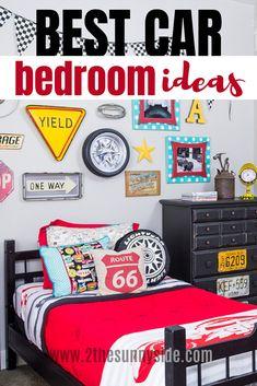 Looking for Car Bedroom Ideas for Boys? This room has it all! Boy Car Room, Boys Car Bedroom, Race Car Room, Boys Bedroom Decor, Garage Bedroom, Bedroom Themes, Car Bedroom Ideas For Boys, Vintage Car Room, Hot Wheels Bedroom
