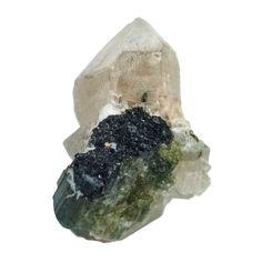 Green Tourmaline in DT Quartz Cluster