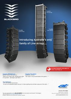 #ATProfessional - Products - Line Array Systems. The proprietary Blackbird Flying Hardware system is an integral cabinet component and is supplied as standard. Inter cabinet angles are easily and accurately adjusted in 0.5º increments, from 0º to 5º, with the pivot point located at the cabinet front to maintain the integrity of the H.F. Aperture. #pasystem #audiotechnology #linearray