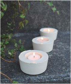 DIY cement candle holders. Love this idea and definitely going to make some for my balcony. The blogger suggests putting some stones or shells on top of the cement just before it dries for added decoration. I think I'm going to do a couple with rhinestones so at night when the candles are burning there's a nice shimmery/sparkle effect.