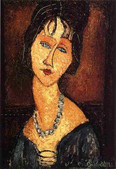 Амедео Модильяни -  Жанна Эбютерн с ожерельем  (1917) -Частная коллекция