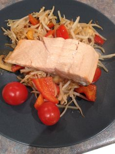 Grilled salmon on a bed of stir fried red pepper, onion and bean sprouts. Plus a few cherry tomatoes (not cooked) which needed eating up. Grilled Salmon, Dairy Free Recipes, Red Peppers, Cherry Tomatoes, Stir Fry, Free Food, Onion, Fries