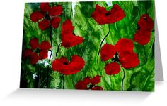 Field Poppies Greeting Card by Angela Gannicott.  This beautiful card was created on paper using watercolor and inks.