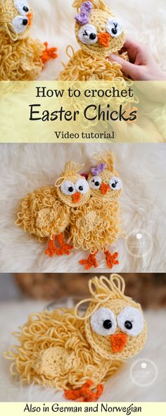 Crochet Easter Chicks - A free crochet pattern - Yarnhild.com. These crochet easter chicks are made in a ragdoll style and the pattern comes with a video tutorial explaining how to crochet the chicks. The cute and unique chicks are made with single crochet and the loop stitches.