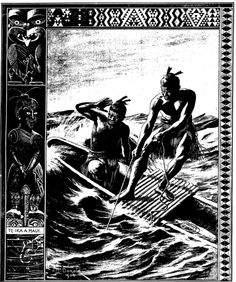 THE FISHING OF MAUI This picture illustrates the Maori myth of the fishing up of New Zealand (in other words, its discovery) by the Polynesian hero and demi-god Maui-tikitiki-o-Taranga. Maui, says the legend, went out m his canoe to fish, and so potent we The Power Of Myth, In Other Words, Maori Art, Canoe, Maui, Mythology, New Zealand, Hero, Fine Art
