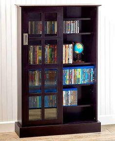 Windowpane CD or DVD Blu-Ray or Games Espresso Sliding Glass Door Media Cabinet #Atlantic