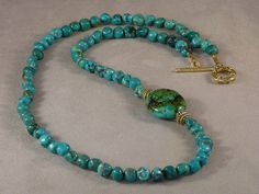Turquoise Nugget Necklace by BearCreekGems on Etsy