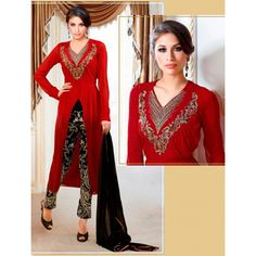 Designer Red Front Cut Kameez With Embroidered Black Capri Style Trouser -3088(HSF-261)