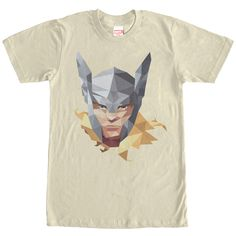 Geo Thor - Loki is no match for the Marvel Geometric Thor Portrait CREAM T-Shirt! This durable CREAM shirt features a portrait of the warrior prince, Thor, wearing his Winged Helmet and in a geometric-style pattern.