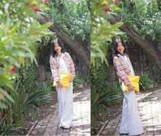 #bohochic. Embroidered crop jacket, white flared denim #springcapsulecollection