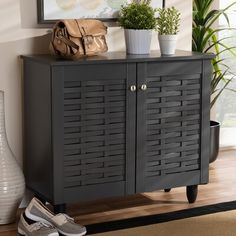 Chic Entryway 9 Pair Shoe Storage Cabinet by Winston Porter storage-sale from top store Entryway Cabinet, Entryway Shoe Storage, Shoe Storage Cabinet, Bench With Shoe Storage, Storage Cabinets, Storage Spaces, Storage Ideas, Shoe Storage Solutions, Creative Storage
