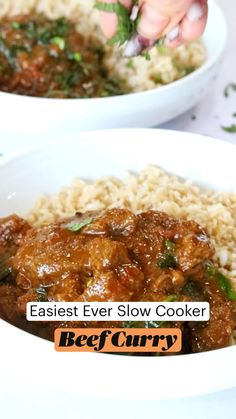Beef Dishes, Food Dishes, Beef Recipes For Dinner, Cooking Recipes, Slow Cooker Beef Curry, Healthy Meals, Easy Meals, Biryani Recipe, Chicken Wing Recipes