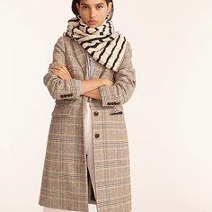 J.Crew: Dalton Topcoat In Glen Plaid English Wool For Women Glen Plaid, Top Coat, Wool Blend, J Crew, Raincoat, English, Winter Coats, Clothes, Jackets