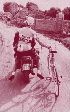 via - Classic Rendezvous - This is thought to be Felice Gimondi hitching a ride to the starting point during the Tour of Sardinia...
