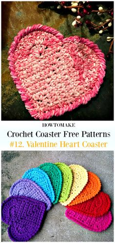 Crochet For Beginners Crochet Valentine Heart Coaster Free Pattern - Easy Crochet Puff Flower, Crochet Flower Patterns, Crochet Patterns For Beginners, Crochet Flowers, Crochet Hearts, Free Crochet Heart Patterns, Crochet Designs, Crochet Ideas, Holiday Crochet