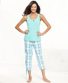 Jenni Pajamas, Fresh Lagoon Muscle Top and Plaid Pajama Pants ...