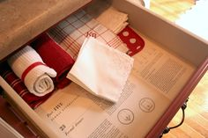 How to line kitchen drawers with old cookbook pages ~ so charming!