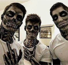 I enjoy how the make-up is applied to the neck and hands – Halloween Costumes Halloween Meme, Guys Halloween Makeup, Halloween Kostüm, Couple Halloween Costumes, Halloween Cosplay, Male Makeup, Scary Makeup, Werewolf Makeup, Horror Make-up