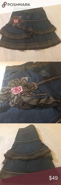"Denim skirt Never worn, beaded and wool details , waist approx 28"" , length 20"" Promod Skirts Midi"