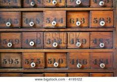 numbered and organized tiny drawers