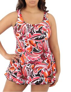 Coral Print Swim Dress One Piece Swimsuit Plus Size at AbbeyPost