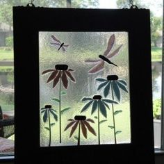 Art Coneflower Dragonfly Hanging Flower Fused Stained Glass Window ...