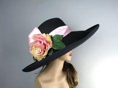Woman Hat Black Summer Hat  Wedding Head Piece by LadyHatsBoutique