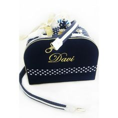 Bolsa M Azul Marinho com Branco e Dourado