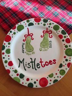 Mistletoes Baby Footprint Plate