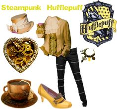 Billedresultat for steampunk hufflepuff Mode Harry Potter, Harry Potter Style, Harry Potter Outfits, Harry Potter Fandom, Nerd Fashion, Fandom Fashion, Fashion Women, Everyday Steampunk, Hufflepuff Pride