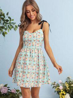 Allover Cartoon Print Contrast Knot Shoulder Slip Dress | SHEIN USA Shirred Dress, Belted Dress, Dress P, Slip, Fashion News, Summer Dresses, Outfits, Clothes, High Waist