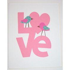 Baby Girl Art Decor, Nursery Room Decor, Kids Wall Art, Children's Room Decor, Love, Birds, Love Birds, 8x10 Art Print