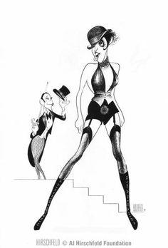 """Al Hirschfeld ~ Liza Minnelli and Joel Grey in """"Cabaret"""" Bob Fosse, Caricature Artist, Caricature Drawing, Drawing Art, Liza Minnelli, Celebrity Caricatures, Celebrity Drawings, Joel Grey, Pop Art"""